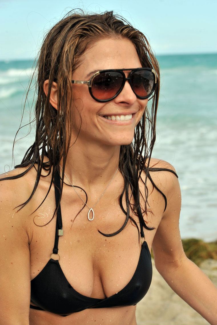 Maria Menounos Black Bikini Malfunction On The Beach -8856
